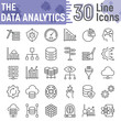 Data analytics line icon set, database symbols collection, vector sketches, logo illustrations, web hosting signs linear pictograms package isolated on white background, eps 10.