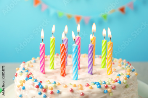Delicious Birthday Cake With Burning Candles Closeup