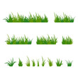 Set of green tufts grass