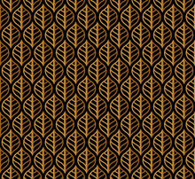 Vector Gold Geometric Leaves Seamless Pattern. Abstract Style Background. Art Deco Geometric Texture.