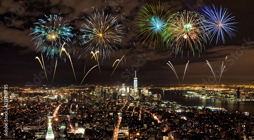 In de dag New York City Fireworks over Manhattan, New York City