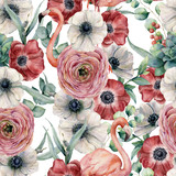 Watercolor seamless pattern with flowers and flamingo. Hand painted red and white anemone, ranunculus, eucalyptus leaves isolated on white background. Botanical print for design or print. - 213131193