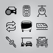 Simple 9 icon set of transport related transfer, helicopter, car with spare tire and car vector icons. Collection Illustration