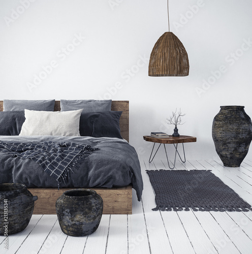 Deurstickers Boho Stijl Ethnic bedroom interior, 3d render