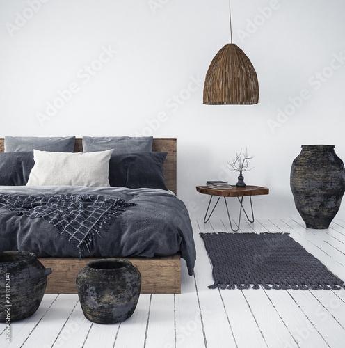 Aluminium Prints Boho Style Ethnic bedroom interior, 3d render