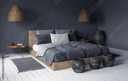 La pose en embrasure Style Boho Ethnic bedroom interior, 3d render