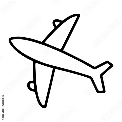Cute Airplane Cartoon Illustration Isolated On White Background