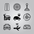 Simple 9 icon set of transport related brake, wiper, gear shift and highway vector icons. Collection Illustration