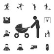 parent with a stroller icon. Detailed set of children life. Premium graphic design. One of the collection icons for websites, web design, mobile app