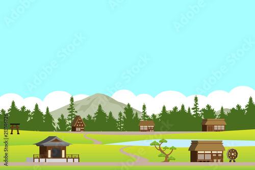 Fotobehang Lichtblauw 集落の風景