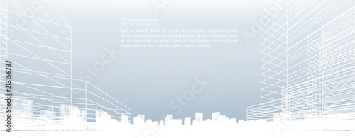 Abstract wireframe city background. Perspective 3D render of building wireframe. Vector. - 213156737