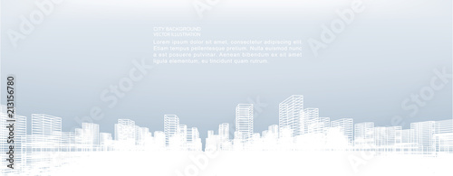Abstract wireframe city background. Perspective 3D render of building wireframe. Vector. - 213156780