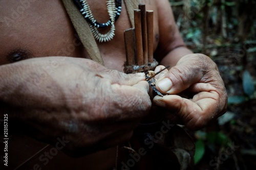 Valokuva Amazonian Matis tribal hunter