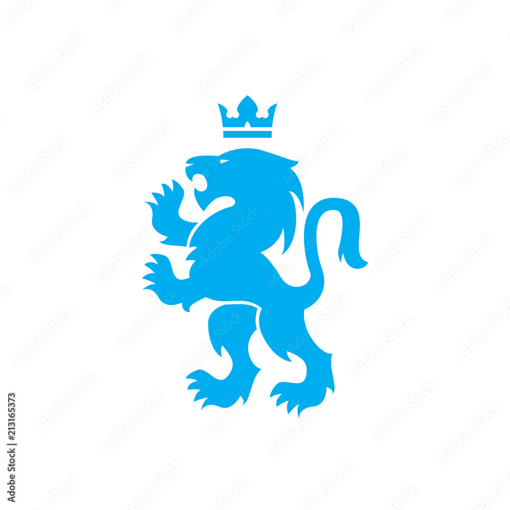 Fototapeta Lion and crown vector logo of blue lion roaring with raised paws in Swiss or Scandinavian or Bauhaus style design