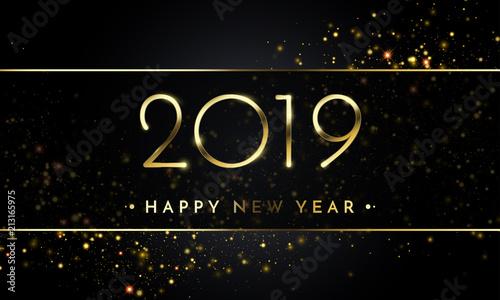 Fotografía  Happy New Year of glitter gold confetti