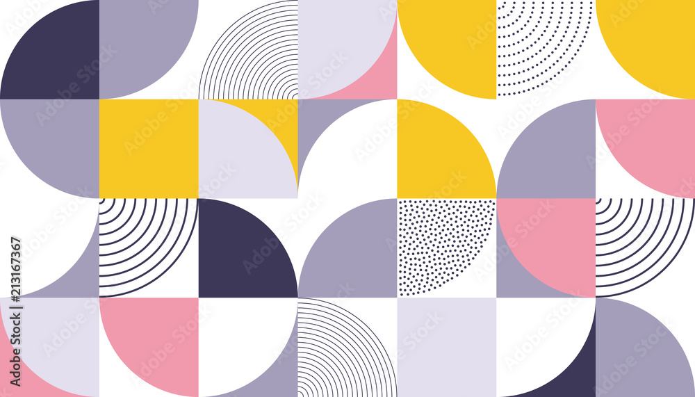 Fototapeta Geometric pattern vector background with Scandinavian abstract color or Swiss geometry prints of rectangles, squares and circles shape design