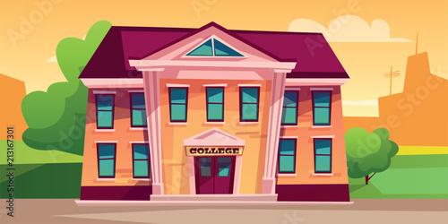 Carta da parati College building vector illustration for education design