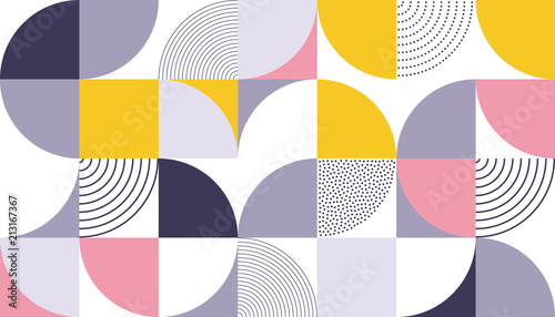 plakat Geometric pattern vector background with Scandinavian abstract color or Swiss geometry prints of rectangles, squares and circles shape design