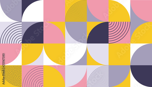 Obrazy do jadalni  geometric-pattern-design-of-scandinavian-abstract-color-background-with-swiss-geometry-prints