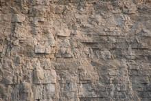 Closeup Limestone Rock Face Sh...