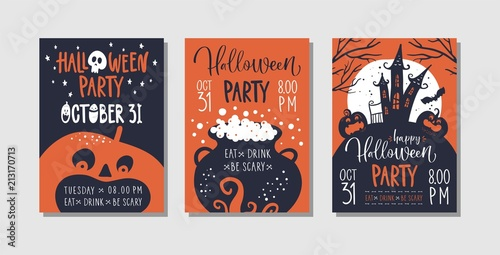 fototapeta na lodówkę Vector set of Halloween party invitations or greeting cards with handwritten calligraphy and traditional symbols.