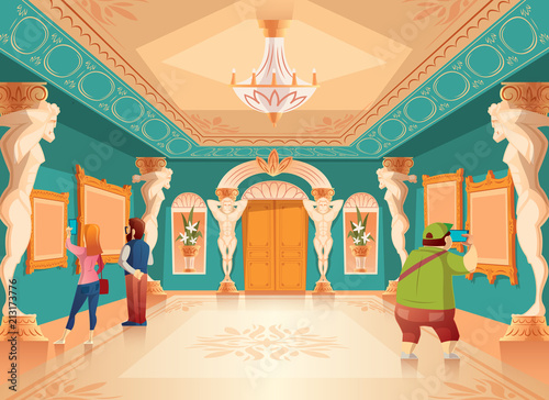 Fototapeta Vector cartoon museum exhibition with pictures and visitors in royal ballroom with atlas columns