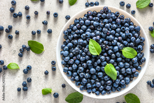 Leinwand Poster Fresh blueberry on plate, freshly picked blue berries, organic food, healthy sup