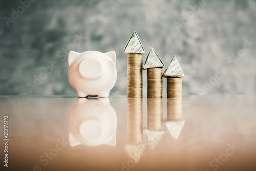 Foto  White piggy bank and coin on wood, Concept save money for residence