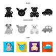 Children toy black, flat, monochrome icons in set collection for design. Game and bauble vector symbol stock web illustration.