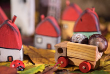 Painted Toy Houses On Autumn L...