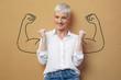 canvas print picture - Blond Frau an der Wand / Muskeln / Kraft / Power