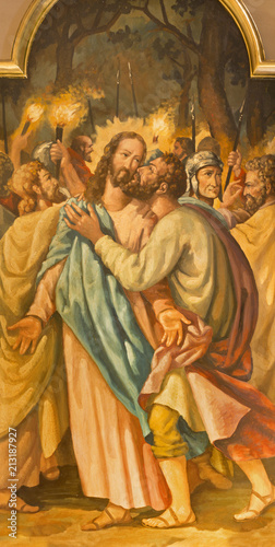ZARAGOZA, SPAIN - MARCH 3, 2018: The painting of Betray of Jesus with the Judas kiss in the church Iglesia de Santo Tomás de Aquino (de los Escolapios de Zaragoza) from  20 Wallpaper Mural