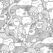 Vector Doodle Seamless Pattern With Ice Cream, Fruits And Waves. Summer Pattern For Coloring Book Or Design Print.