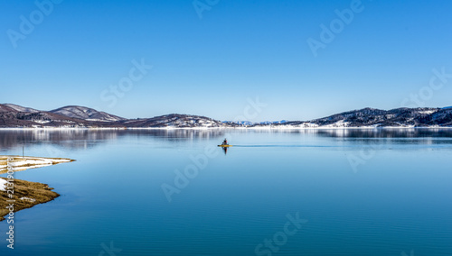 Garden Poster Water Motor sports Snowy landscapes. The Lake Plastira on winter. Greece