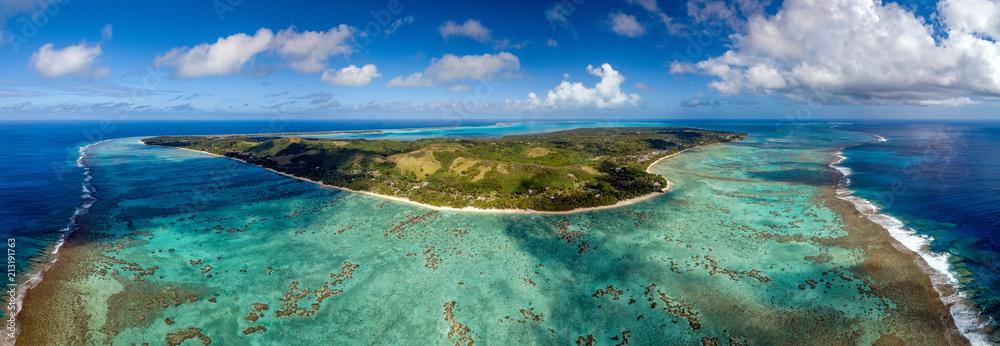 Fototapety, obrazy: Polynesia Cook Island aitutaki lagoon tropical paradise aerial view