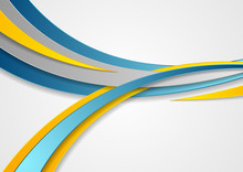Blue And Yellow Abstract Corporate Waves Background