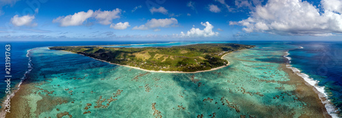 Photo  Polynesia Cook Island aitutaki lagoon tropical paradise aerial view