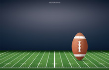 Football Ball On Football Field Stadium Background. With Perspective Line Pattern. Vector.