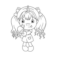 Cute Baby Unicorn Holding Ice Cream, Coloring Page For Girls. Vector.