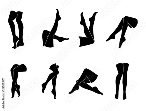 Fotografía Woman legs vector icon set.
