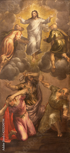 MODENA, ITALY - APRIL 14, 2018: The painting of Transfiguration in church Chiesa di San Pietro by Giovani Battista Ingoni (1560).