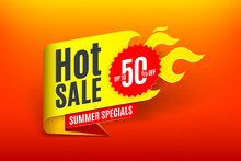 Sales Background Template Design With Flame. Hot Sale Sign.