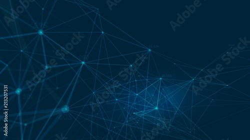 Fotografia  Connected polygons plexus vector background, digital data visualization