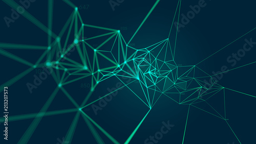 Network connection plexus structure forming a geometric pattern, Abstract vector background