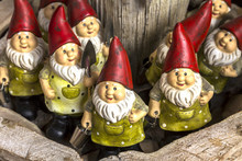 Decorative Happy Garden Gnomes For Sale At A Souvenir Shop