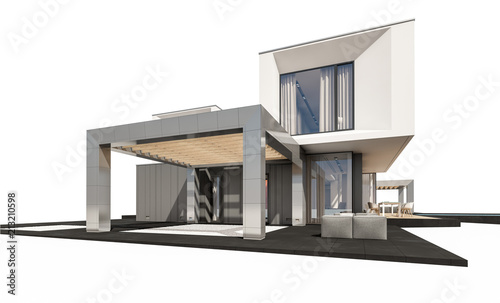 Stickers pour porte Pierre, Sable 3d rendering of modern house isolated on white.