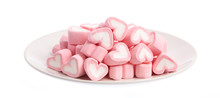 Plate With Sweet Heart Shape Of Marshmallow Isolated On White Background.