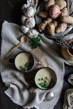 Bowls With Tasty Jerusalem Artichoke Soup