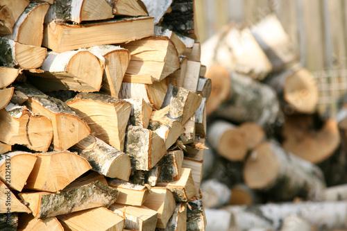 Fototapeta drewno opałowe brzoza obraz