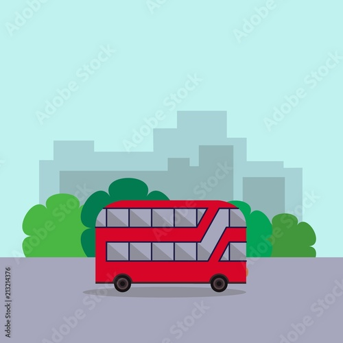 English red double-decker bus side view flat style Tablou Canvas